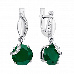 Серебряные серьги-подвески с зеленым агатом и фианитами 000136304