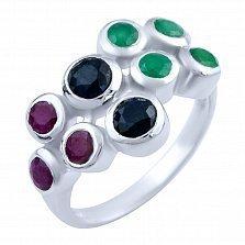Серебряное кольцо Анджали с изумрудами, рубинами и сапфирами
