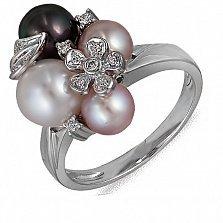Кольцо Дары морей из белого золота с бриллиантами и жемчугами