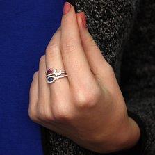 Серебряное кольцо Сердце, луна и глаз с разноцветными фианитами