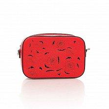 Кожаный клатч Genuine Leather 1654 красного цвета с перфорированными узорами и плечевым ремнем