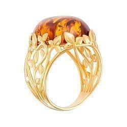 Серебряное кольцо в позолоте с янтарем 000149077