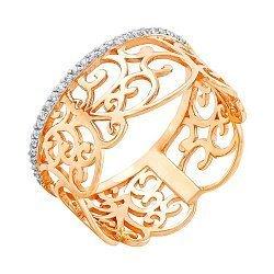 Золотое кольцо с фианитами Ампир
