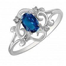 Кольцо Возрождение из белого золота с бриллиантами и сапфиром