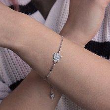 Серебряный браслет Светлый ангел с фианитами и регулируемым размером