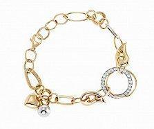 Золотой браслет в комбинированном цвете с фианитами Персефона