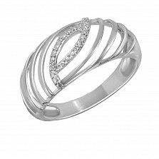 Кольцо из белого золота Аланья с ажурной шинкой и бриллиантами