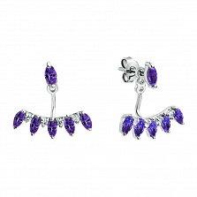Серебряные серьги-джекеты Алисия с фиолетовыми аметистами и белыми фианитами