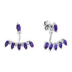 Серебряные серьги-джекеты с фиолетовыми аметистами и белыми фианитами 000098794