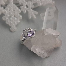 Серебряное кольцо Галактика с аметистом и фианитами