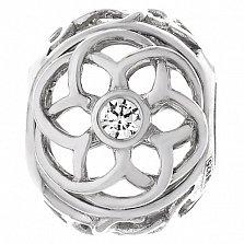 Серебряный подвес-шарм Узорный цветок с фианитами