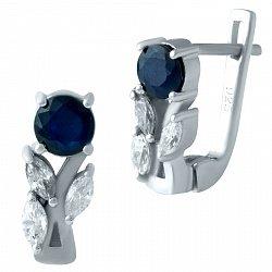 Серебряные серьги с сапфиром и фианитами 000075865