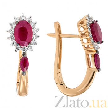 Золотые серьги с рубинами и бриллиантами Аделаида KBL--С2403/крас/руб