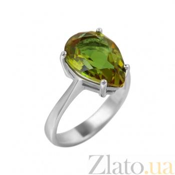 Серебряное кольцо Нонна с зеленым корундом 000081622