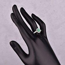 Серебряное кольцо Изабель с изумрудом и фианитами
