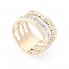 Кольцо из желтого золота Тореа с фантазийной шинкой и белыми фианитами