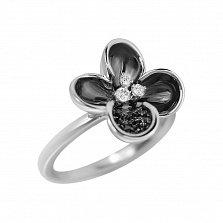Золотое кольцо Черная лунария в белом цвете с бриллиантами