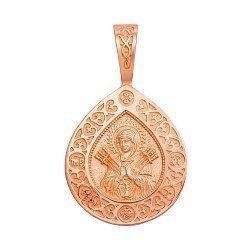 Ладанка из красного золота Семистрельная Божья Матерь с молитвой 000133316