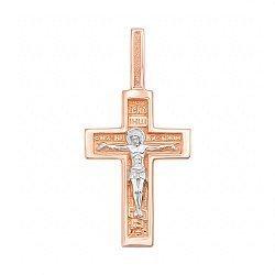 Золотой крестик Верность традициям в комбинированном цвете 000117560