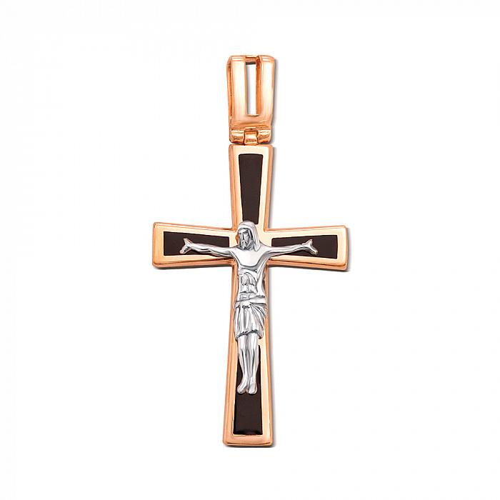 Православный крестик из красного золота с черной эмалью 000004120 3582/01/1/389