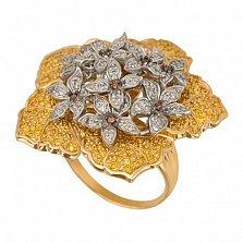 Кольцо из желтого золота Букет с фианитами