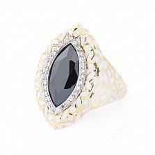 Дизайнерское золотое кольцо Конкордия в желтом цвете с белой эмалью, черным и белыми фианитами