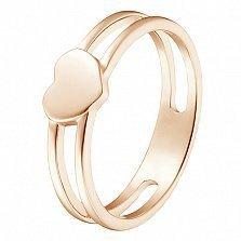 Кольцо Сердце в красном золоте
