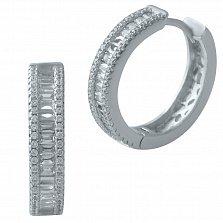 Серебряные серьги-колечки Линда с фианитами