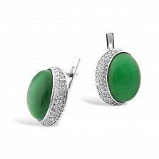 Серебряные серьги Забава с зеленым улекситом и фианитами
