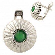 Серебряные серьги Юлиана с зеленым агатом и фианитами