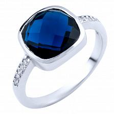 Серебряное кольцо Альфия с синтезированным сапфиром и фианитами