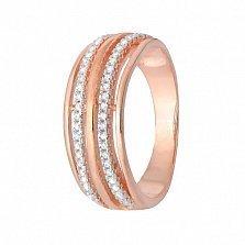 Кольцо из серебра с позолотой и фианитами Титания