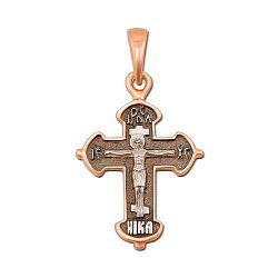 Православный крестик в комбинированном цвете золота с чернением 000133510