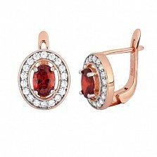 Позолоченные серебряные серьги с красными фианитами Вистилия