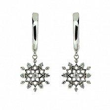 Серебряные серьги-подвески с бриллиантами Снежинки