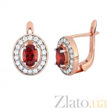 Позолоченные серебряные серьги с красными фианитами Вистилия SLX--СК3ФГ/482