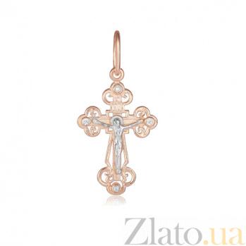 Серебряный крестик с фианитами Небесный Царь 000028654