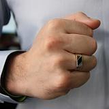 Серебряное кольцо-печатка с золотой вставкой и ониксом Техас