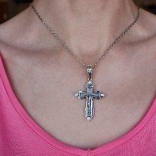 Серебряный крест Небесное Милосердие с чернением