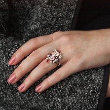 Кольцо серебряное Нежный букет с разноцветными фианитами и перламутром