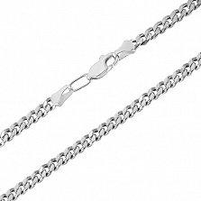 Серебряная цепочка чернёная Панцирная, 3мм