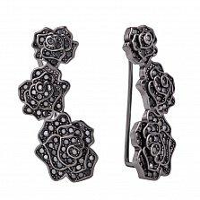 Серебряные серьги-каффы Три розы в черном цвете с черными фианитами