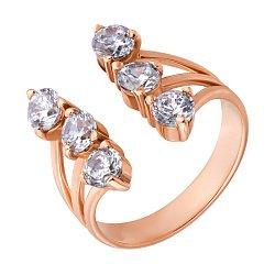 Фаланговое кольцо в красном золоте Ольга с фианитами