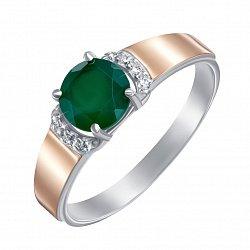 Серебряное кольцо с золотыми накладками, зеленым агатом и фианитами 000134967