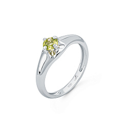 Серебряное кольцо Карима с хризолитом огранки круг
