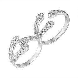 Серебряное кольцо на два пальца с цирконием 000061852