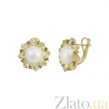 Серьги из желтого золота Джустина с коньячными бриллиантами, белым жемчугом и кварцем цвета шампань 000081219