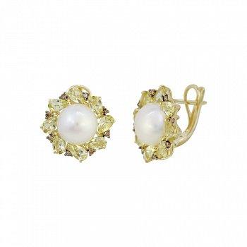 Серьги из желтого золота с коньячными бриллиантами, белым жемчугом и кварцем цвета шампань 000081219