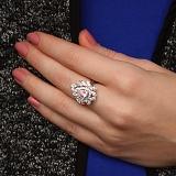 Серебряное кольцо Нежный румянец с разноцветными фианитами
