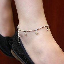 Серебряный браслет на ногу Стиль от Луи с жемчугом, 23-27,5см